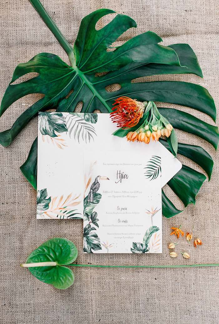 Tropical Party Invite + Stationery from a Tropical Baptism Party in Rhodes on Kara's Party Ideas | KarasPartyIdeas.com (42)