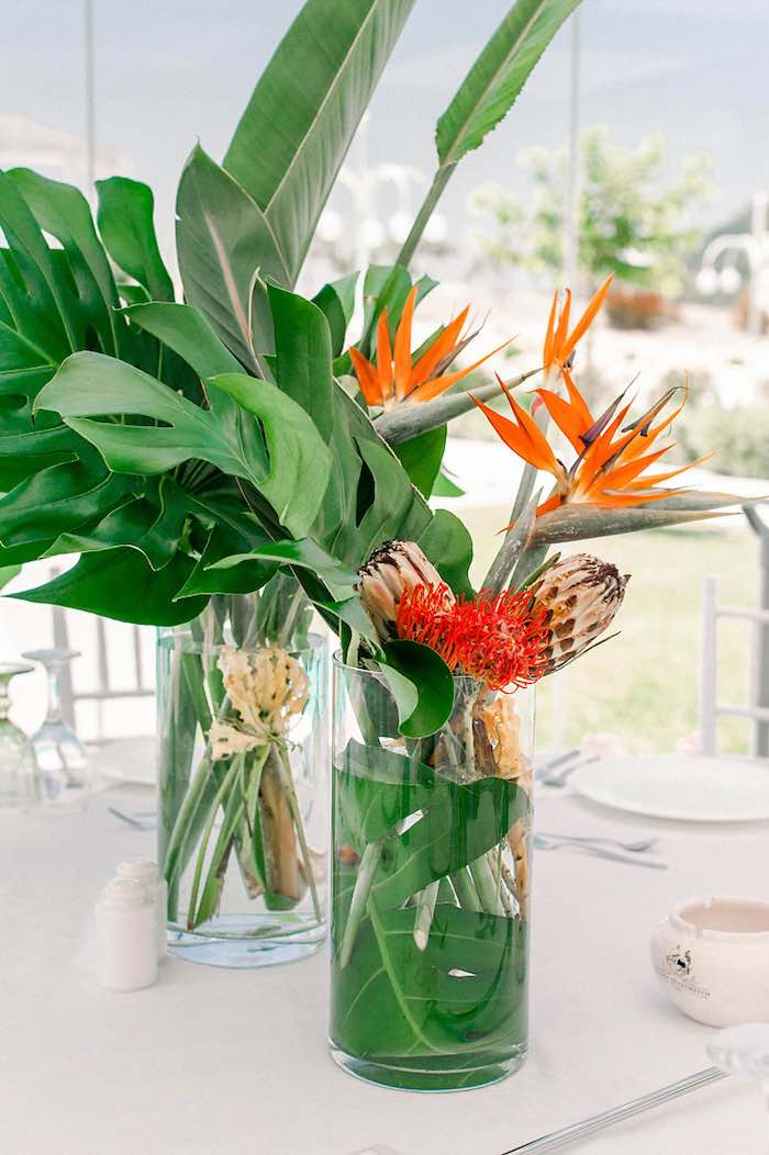 Tropical Centerpiece from a Tropical Baptism Party in Rhodes on Kara's Party Ideas | KarasPartyIdeas.com (21)