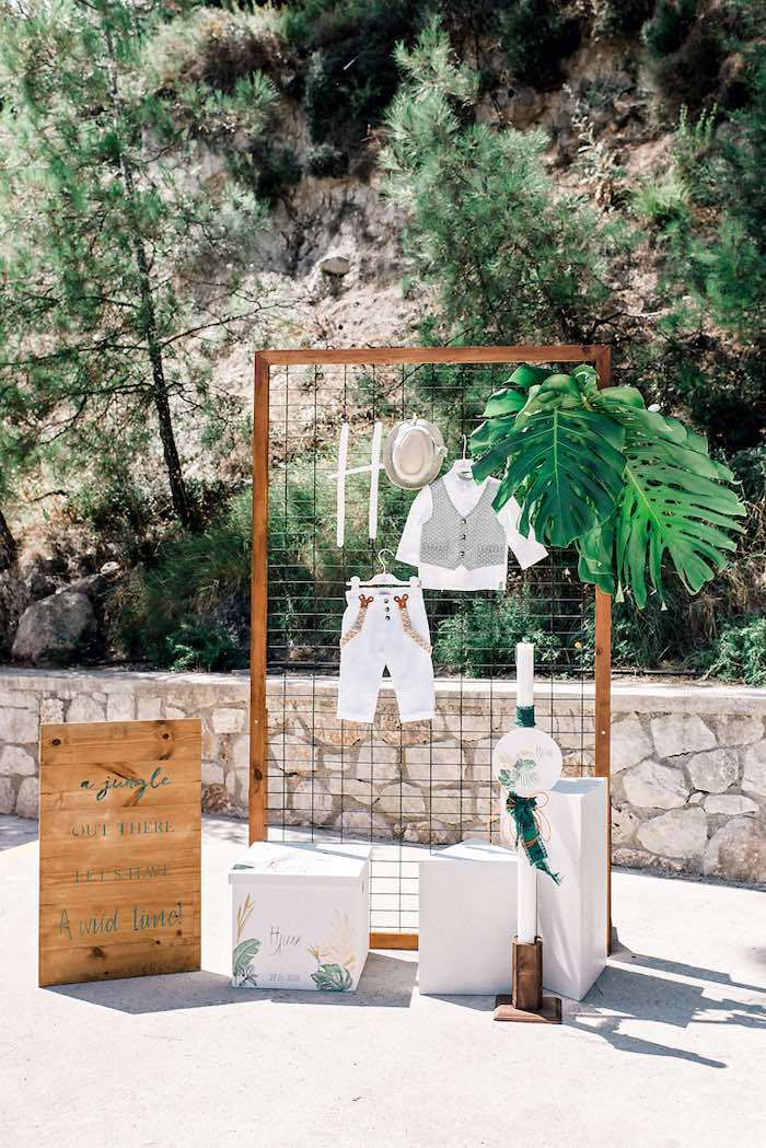 Wood + Wire Highlight Grid Backdrop from a Tropical Baptism Party in Rhodes on Kara's Party Ideas | KarasPartyIdeas.com (20)