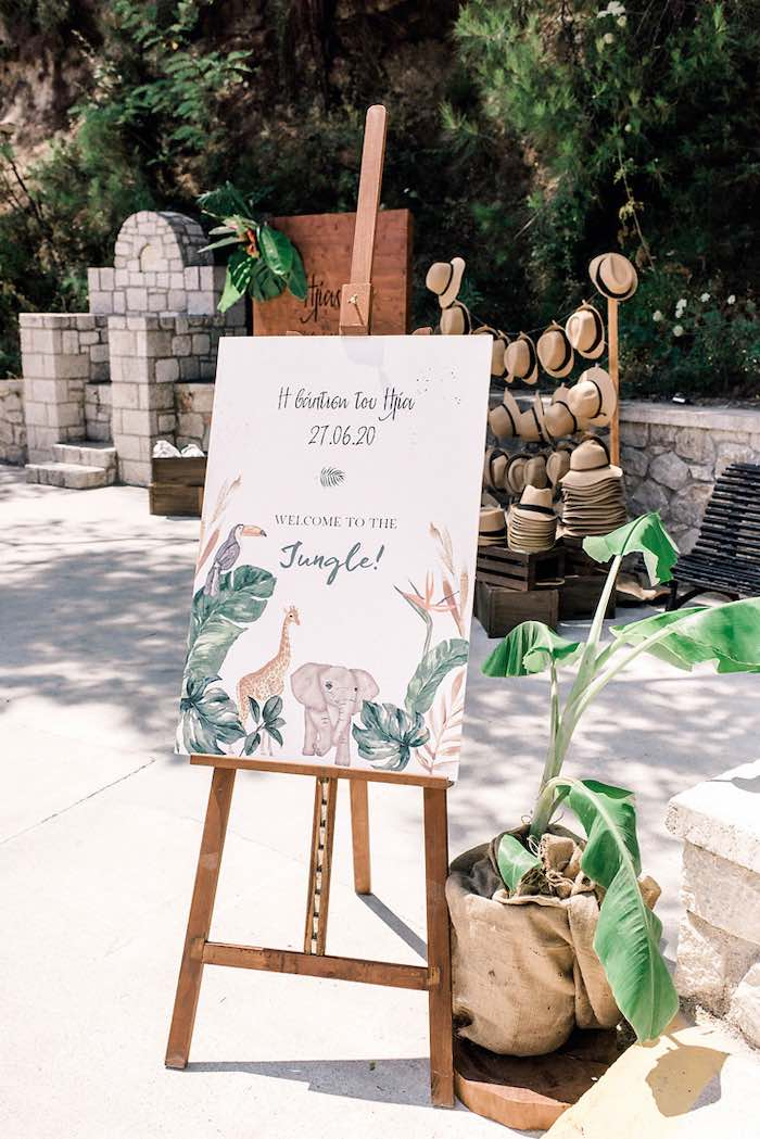 Jungle Animal Welcome Sign from a Tropical Baptism Party in Rhodes on Kara's Party Ideas | KarasPartyIdeas.com (19)