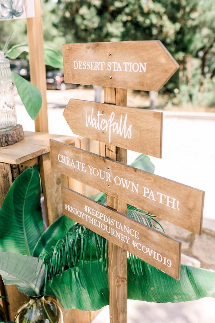 Wood Directional Sign from a Tropical Baptism Party in Rhodes on Kara's Party Ideas | KarasPartyIdeas.com (17)