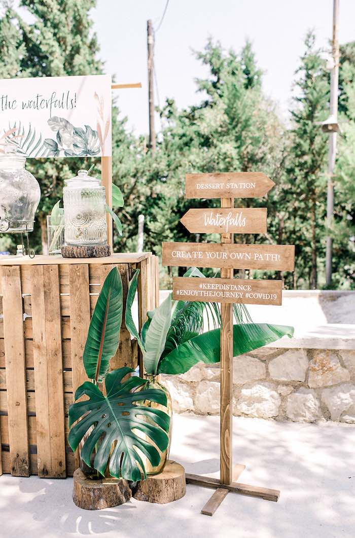 Wood Directional Sign from a Tropical Baptism Party in Rhodes on Kara's Party Ideas | KarasPartyIdeas.com (16)