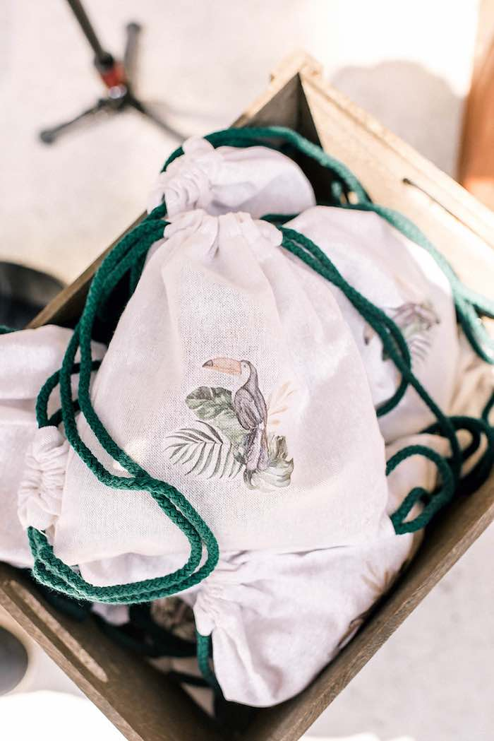 Toucan-printed Drawstring Favor Sacks from a Tropical Baptism Party in Rhodes on Kara's Party Ideas | KarasPartyIdeas.com (15)
