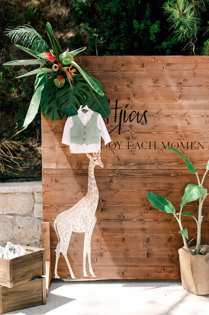Wood Wall Giraffe Backdrop from a Tropical Baptism Party in Rhodes on Kara's Party Ideas | KarasPartyIdeas.com (41)