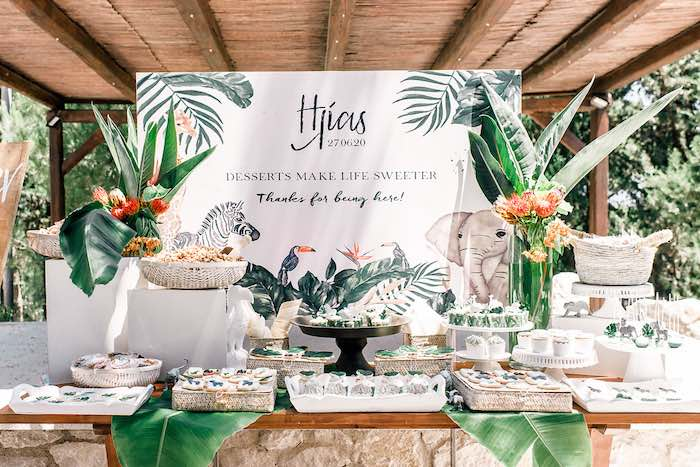 Tropical Dessert Table from a Tropical Baptism Party in Rhodes on Kara's Party Ideas | KarasPartyIdeas.com (13)