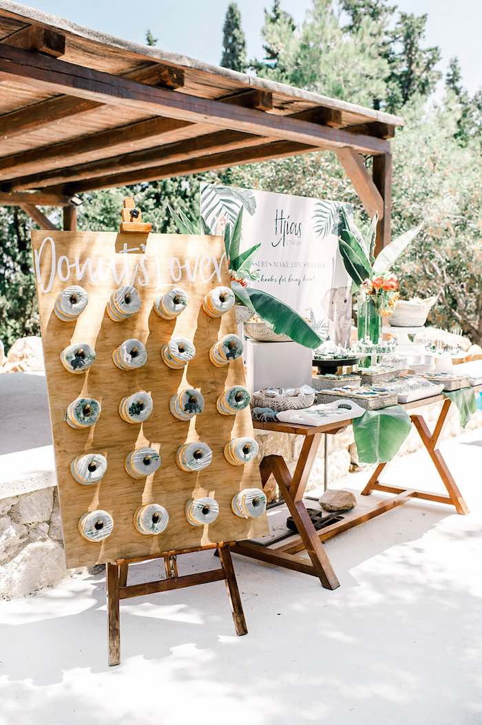 Donut Board + Dessert Table from a Tropical Baptism Party in Rhodes on Kara's Party Ideas | KarasPartyIdeas.com (12)