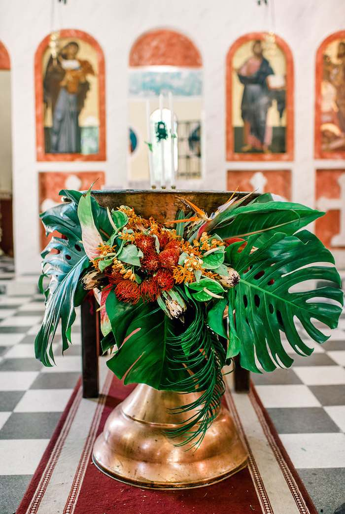 Tropical Baptismal Bowl from a Tropical Baptism Party in Rhodes on Kara's Party Ideas | KarasPartyIdeas.com (9)