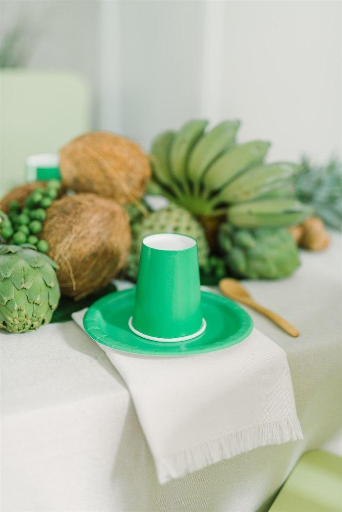 Tropical Green Table Setting from a Tropical Tiki Birthday Party on Kara's Party Ideas | KarasPartyIdeas.com (19)