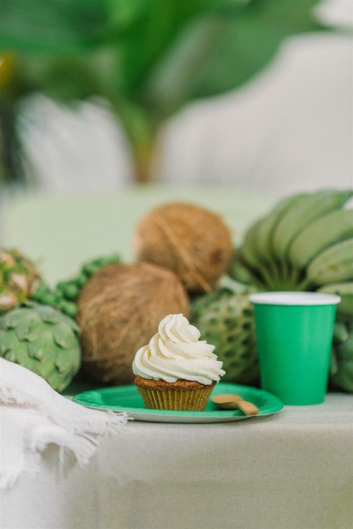 Cupcake + Green Table Setting from a Tropical Tiki Birthday Party on Kara's Party Ideas | KarasPartyIdeas.com (16)