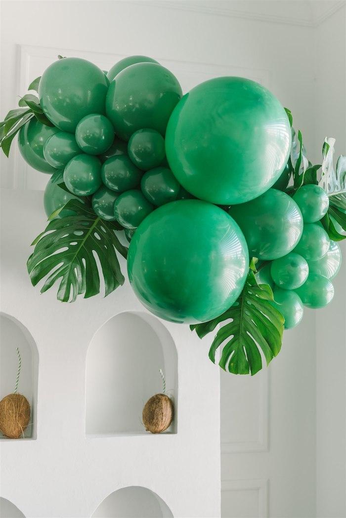 Tropical Leaf Balloon Install from a Tropical Tiki Birthday Party on Kara's Party Ideas | KarasPartyIdeas.com (5)