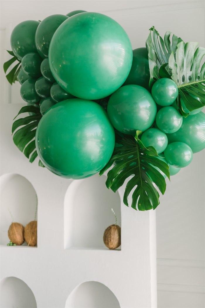 Tropical Leaf Balloon Install from a Tropical Tiki Birthday Party on Kara's Party Ideas | KarasPartyIdeas.com (4)