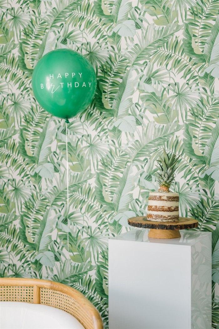 Tropical Leaf Backdrop + Cake Pedestal Table from a Tropical Tiki Birthday Party on Kara's Party Ideas | KarasPartyIdeas.com (27)