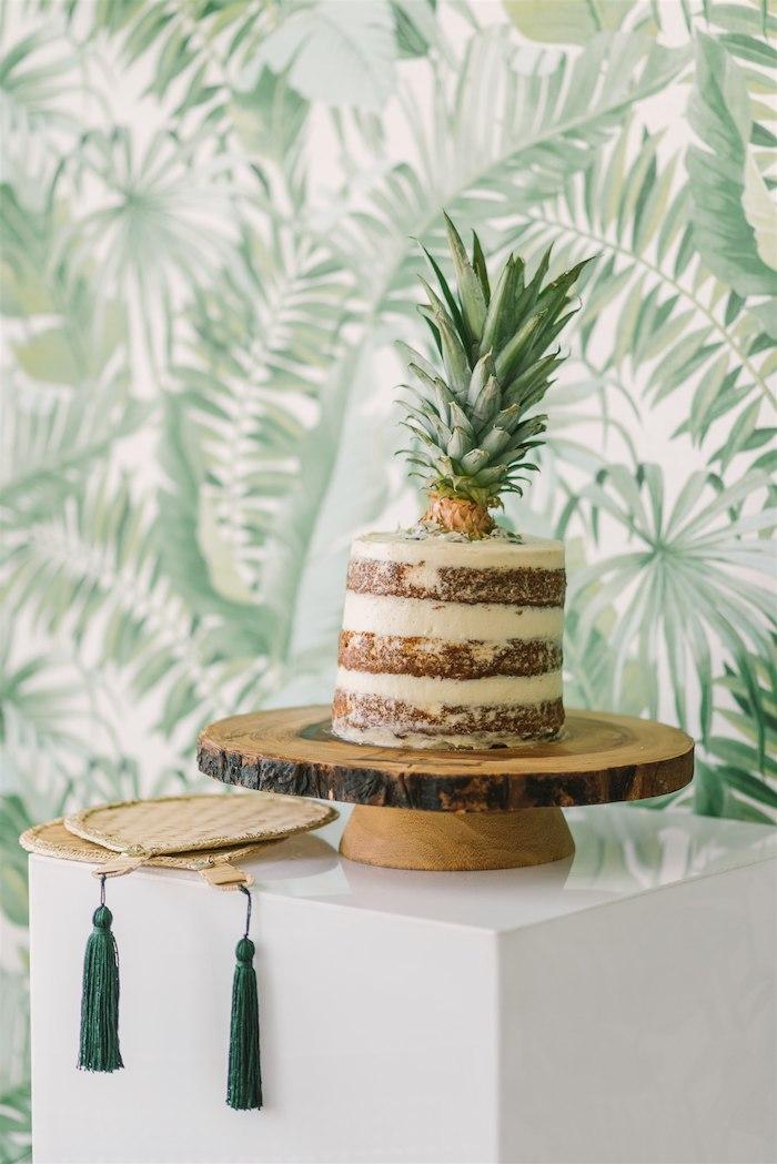 Tropical Pineapple Naked Cake from a Tropical Tiki Birthday Party on Kara's Party Ideas | KarasPartyIdeas.com (25)
