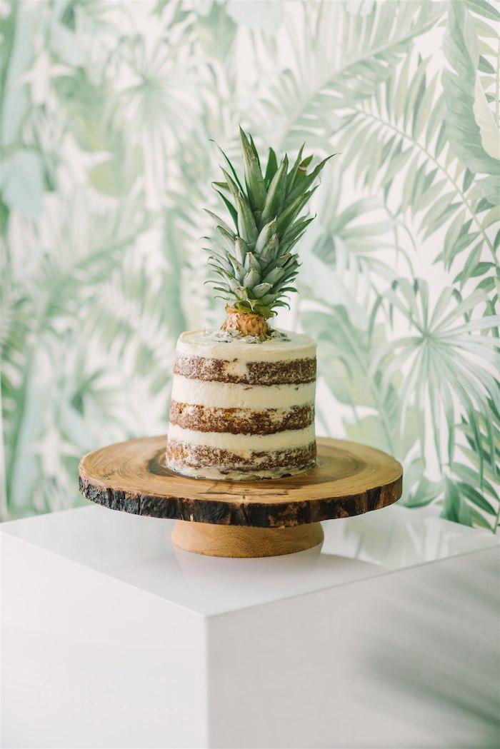 Tropical Pineapple Naked Cake from a Tropical Tiki Birthday Party on Kara's Party Ideas | KarasPartyIdeas.com (24)
