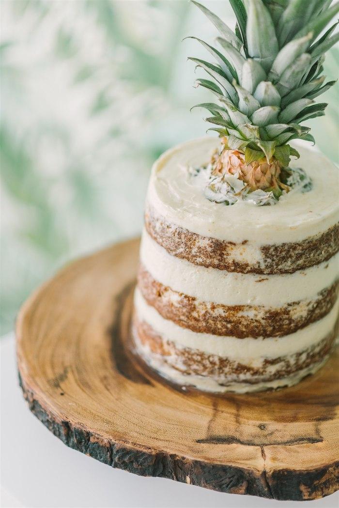 Tropical Pineapple Naked Cake from a Tropical Tiki Birthday Party on Kara's Party Ideas | KarasPartyIdeas.com (23)