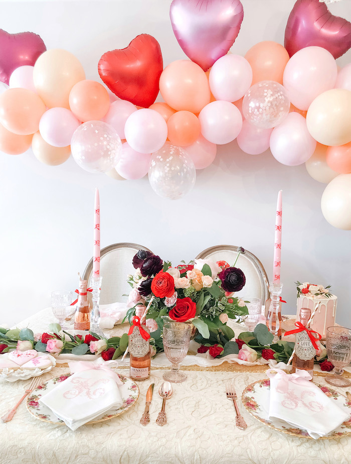 Valentine's Day Dining Table from a Vintage Valentine's Day Dinner Party on Kara's Party Ideas | KarasPartyIdeas.com (14)