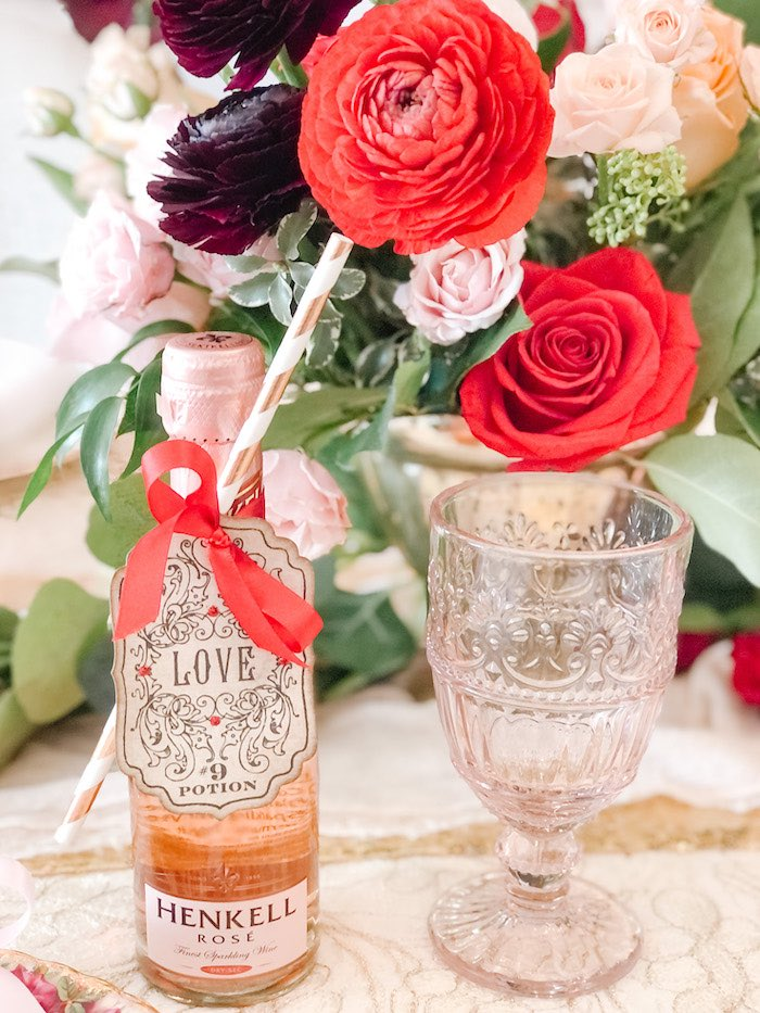 LOVE Tagged Rose with Pink Crystal Goblet from a Vintage Valentine's Day Dinner Party on Kara's Party Ideas | KarasPartyIdeas.com (13)