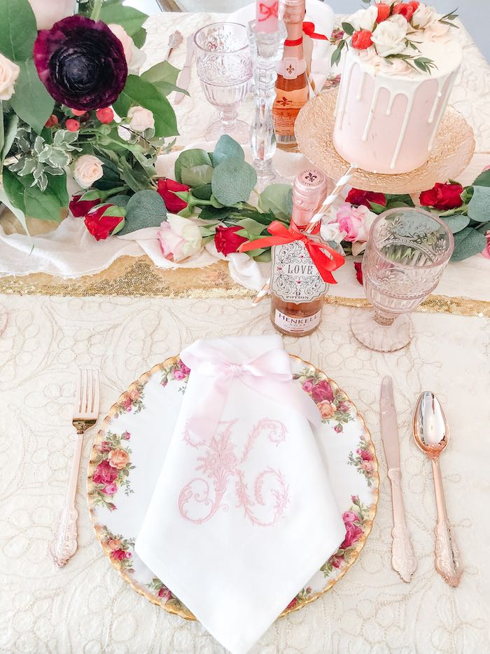 Vintage Floral Table Setting with Monogrammed Napkin from a Vintage Valentine's Day Dinner Party on Kara's Party Ideas | KarasPartyIdeas.com (10)