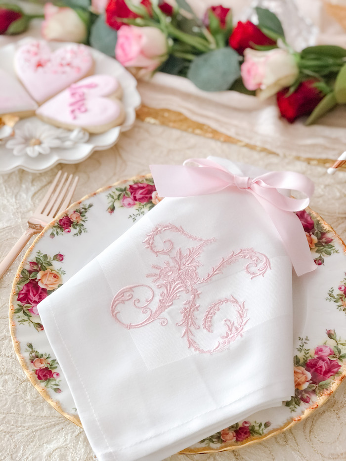 Monogrammed Napkin + Table Setting from a Vintage Valentine's Day Dinner Party on Kara's Party Ideas | KarasPartyIdeas.com (9)