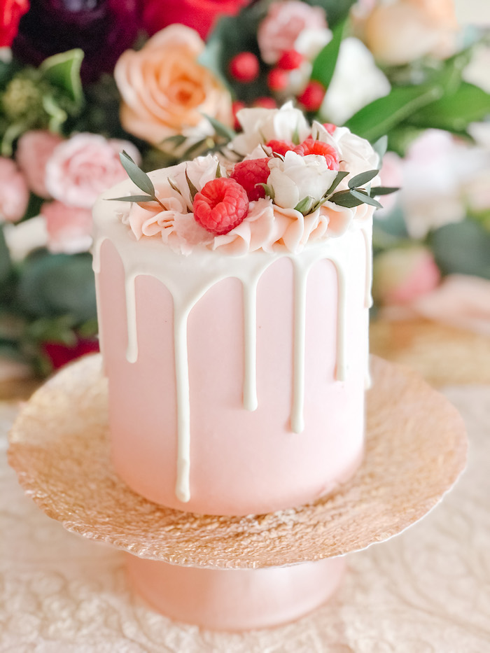 Mini Pink Drip Cake from a Vintage Valentine's Day Dinner Party on Kara's Party Ideas | KarasPartyIdeas.com (8)