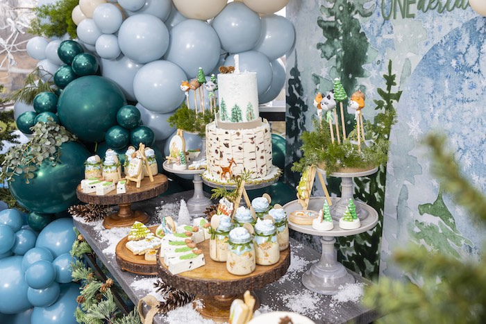 Winter ONEderrland Dessert Table from a Winter ONEderland Birthday Party on Kara's Party Ideas | KarasPartyIdeas.com (15)