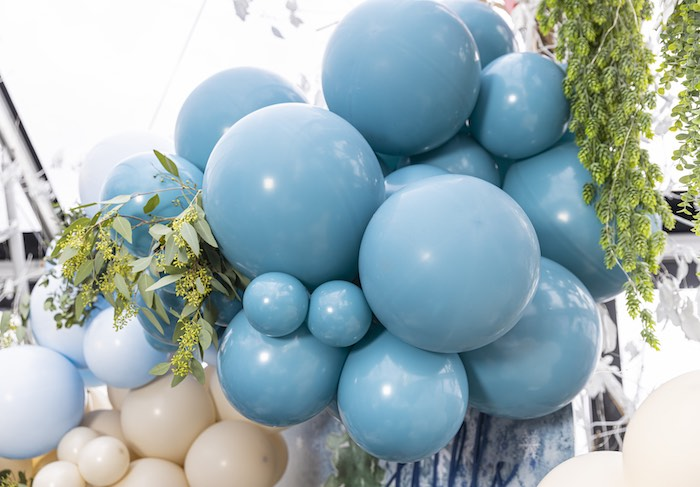 Winter Foliage Balloon Garland from a Winter ONEderland Birthday Party on Kara's Party Ideas | KarasPartyIdeas.com (14)