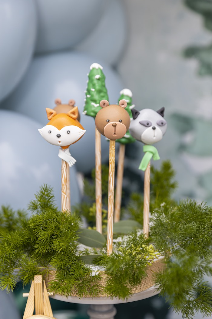 Woodland Animal Cake Pops from a Winter ONEderland Birthday Party on Kara's Party Ideas | KarasPartyIdeas.com (11)