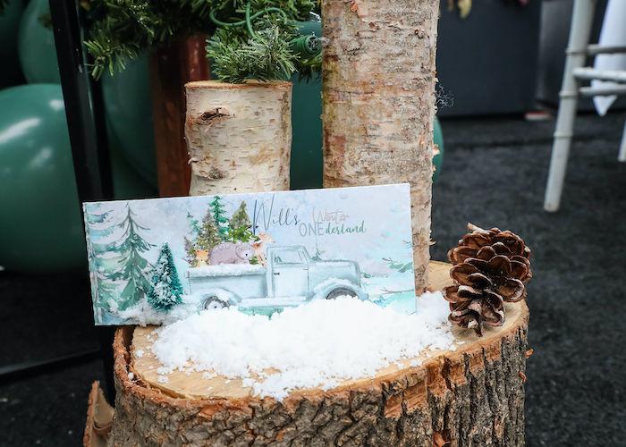 Stump Dessert Pedestal + Custom Winter ONEderland Candy Bar + Label from a Winter ONEderland Birthday Party on Kara's Party Ideas | KarasPartyIdeas.com (7)
