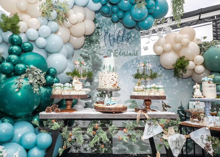 Winter ONEderrland Dessert Table from a Winter ONEderland Birthday Party on Kara's Party Ideas | KarasPartyIdeas.com (5)