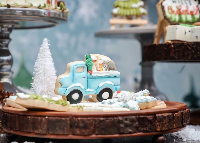 Truck Cookie from a Winter ONEderland Birthday Party on Kara's Party Ideas | KarasPartyIdeas.com (4)