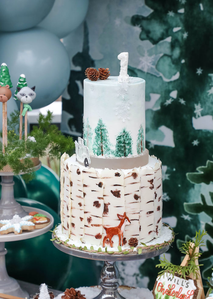 Winter ONEderland Birthday Cake from a Winter ONEderland Birthday Party on Kara's Party Ideas | KarasPartyIdeas.com (2)
