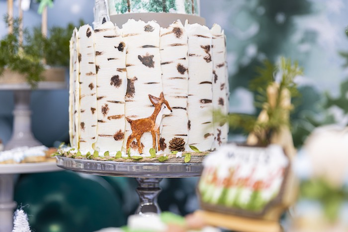 Aspen Tree + Deer Cake from a Winter ONEderland Birthday Party on Kara's Party Ideas | KarasPartyIdeas.com (26)