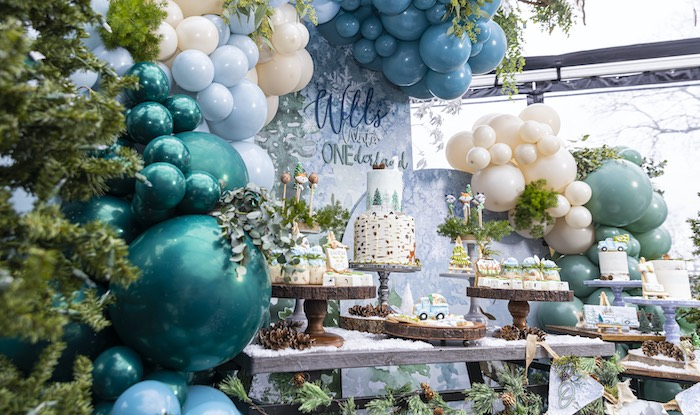 Winter ONEderrland Dessert Table from a Winter ONEderland Birthday Party on Kara's Party Ideas | KarasPartyIdeas.com (20)