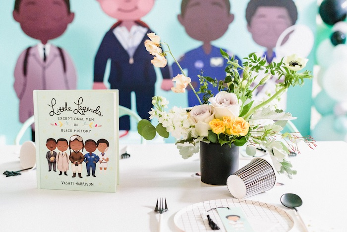 "Little Legends-inspired Guest Table + Table Setting from a ""Little Legends, Exceptional Men in Black History"" Birthday Party on Kara's Party Ideas 