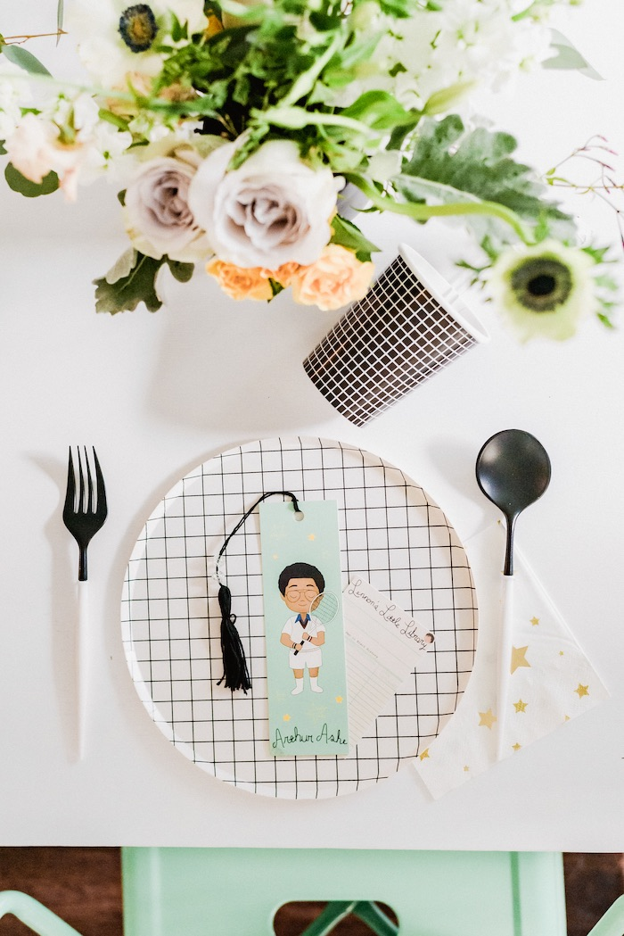 "Little Legends-inspired Table Setting from a ""Little Legends, Exceptional Men in Black History"" Birthday Party on Kara's Party Ideas 