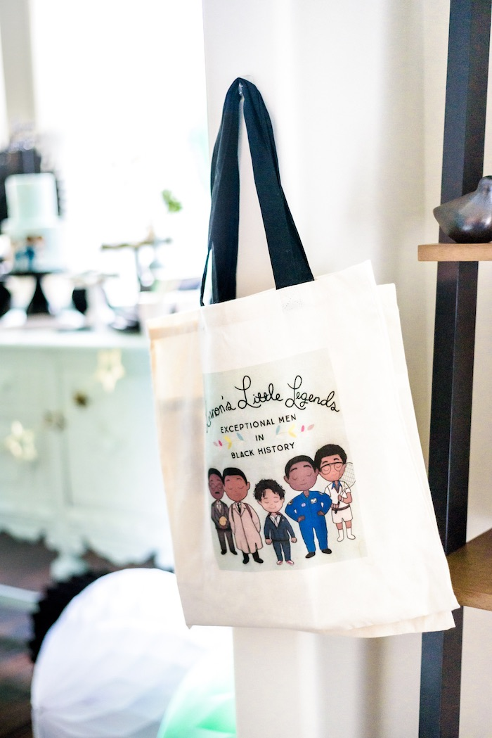 "Little Legends Canvas Bag from a ""Little Legends, Exceptional Men in Black History"" Birthday Party on Kara's Party Ideas 