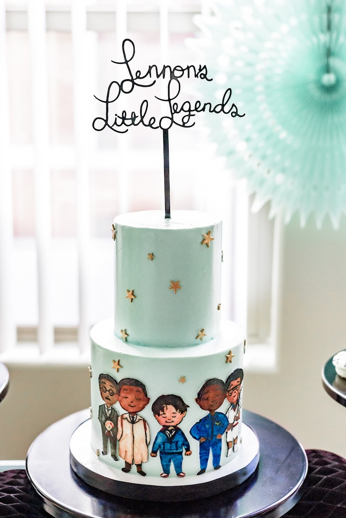 "Little Legends-inspired Cake from a ""Little Legends, Exceptional Men in Black History"" Birthday Party on Kara's Party Ideas 