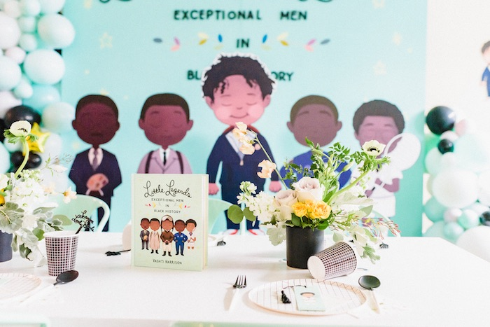 "Guest Table from a ""Little Legends, Exceptional Men in Black History"" Birthday Party on Kara's Party Ideas 