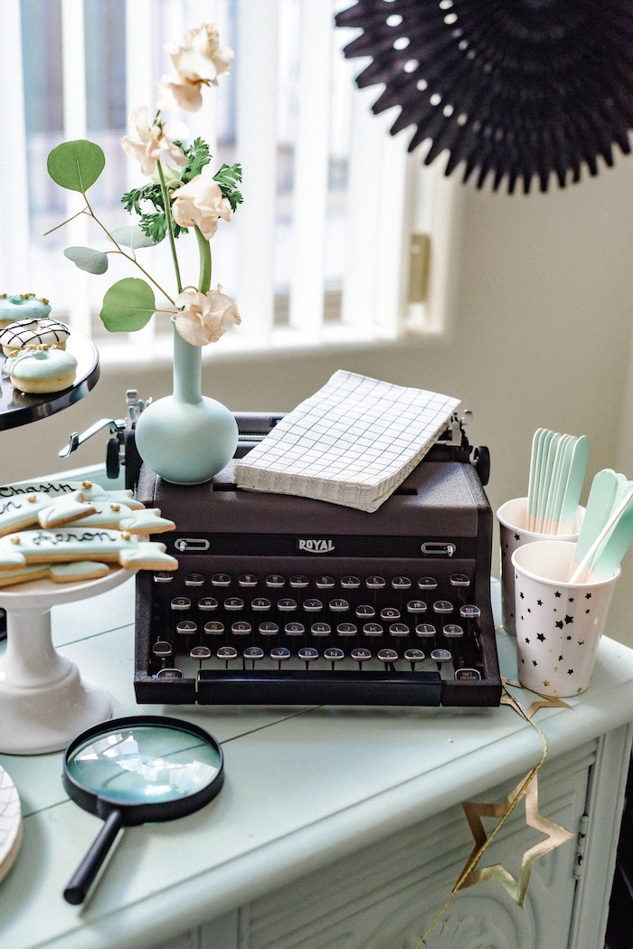 "Vintage Typewriter - Guest Table Decoration from a ""Little Legends, Exceptional Men in Black History"" Birthday Party on Kara's Party Ideas 