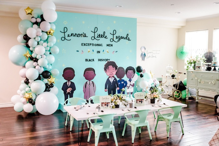 "Little Legends Book-inspired Guest Table from a ""Little Legends, Exceptional Men in Black History"" Birthday Party on Kara's Party Ideas 