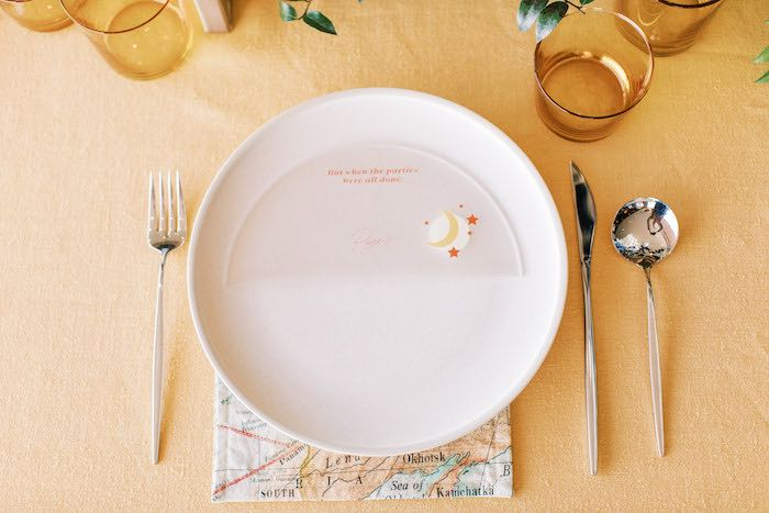 """Modern White + Silver Table Setting from a """"Boy Meets World"""" Travel Baby Shower on Kara's Party Ideas 
