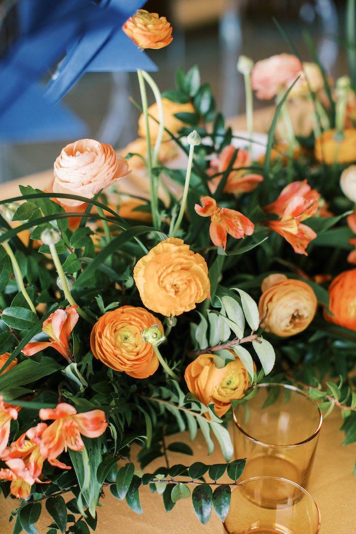 "Orange Florals from a ""Boy Meets World"" Travel Baby Shower on Kara's Party Ideas | KarasPartyIdeas.com (17)"
