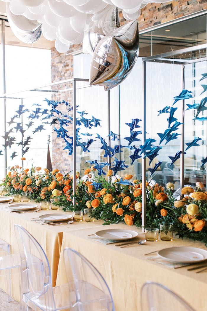 """Orange + Blue Guest Table from a Guest Table from a """"Boy Meets World"""" Travel Baby Shower on Kara's Party Ideas 