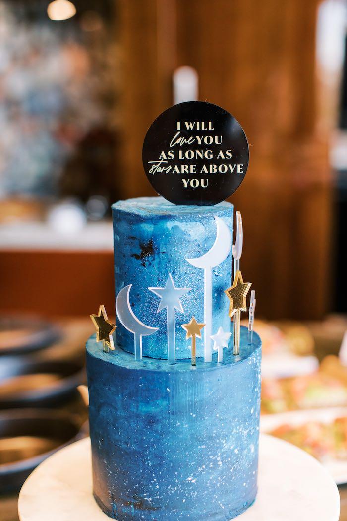 "Night Sky Cake from a ""Boy Meets World"" Travel Baby Shower on Kara's Party Ideas | KarasPartyIdeas.com (6)"