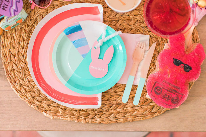 "Bunny-inspired Easter Table Setting from an ""Ohhh I Wanna Dance With Somebunny"" 80's Pop Star Easter Party on Kara's Party Ideas 