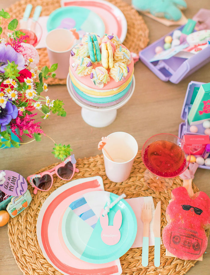 "Bunny Themed Easter Table Setting from an ""Ohhh I Wanna Dance With Somebunny"" 80's Pop Star Easter Party on Kara's Party Ideas 