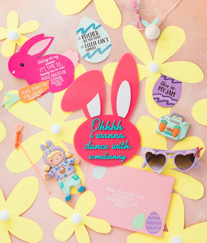 "Bunny Party Invite + Signage from an ""Ohhh I Wanna Dance With Somebunny"" 80's Pop Star Easter Party on Kara's Party Ideas 