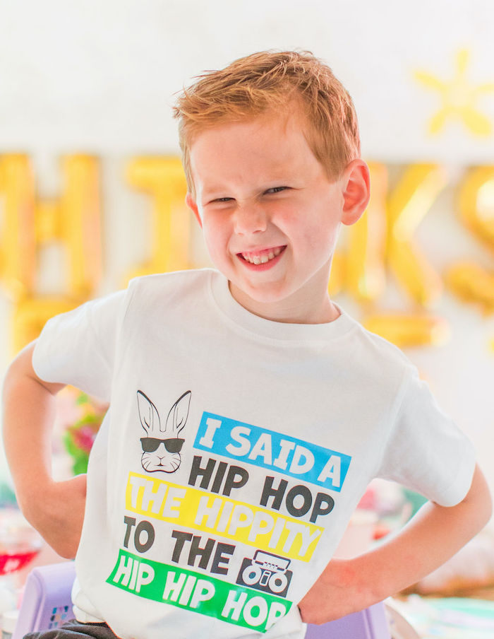 "Hip Hop Easter Shirt from an ""Ohhh I Wanna Dance With Somebunny"" 80's Pop Star Easter Party on Kara's Party Ideas 