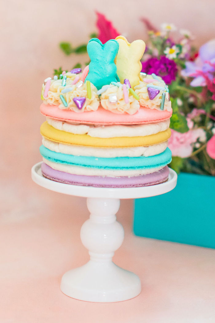 "Layered Easter Cake from an ""Ohhh I Wanna Dance With Somebunny"" 80's Pop Star Easter Party on Kara's Party Ideas 