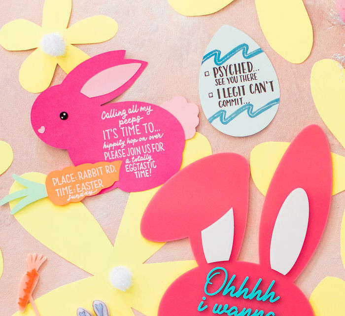 "Bunny Party Invite from an ""Ohhh I Wanna Dance With Somebunny"" 80's Pop Star Easter Party on Kara's Party Ideas 